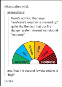 "Fire, Yeah, and Quite: i-likeyourfunnyhat:  averageface  there's nothing that says  ""australia's weather is messed up""  quite like the fact that our fire  danger system doesnt just stop at  ""extreme""  LOW-MODERATE  CATASTROPHIC  and that the second lowest setting is  high'  Stralia. So yeah. Russia, do you have a Bushfire Danger Chart that goes up to Catastrophic?"