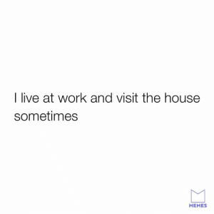 Dank, Memes, and Work: I live at work and visit the house  sometimes  MEMES Sadly