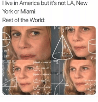 America, Gimp, and Memes: I live in America but it's not LA, New  York or Miami:  Rest of the World  2tr  45 609  10  OK+C.  GIMP) ENT  dxA  sinx  2x  rv3  2 True or not?