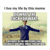 I live my life by this meme  DO WHAT THE  FUCK YOU WANT  BECAUSE IN THE END PEOPLEARE  ASSHOLES AND WILL JUDGEYOUANYWAY