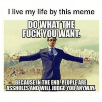 I live my life by this meme  DO WHAT THE  FUCK YOU WANT  BECAUSE IN THE END, PEOPLE ARE  ASSHOLESAND WILL JUDGE YOU ANYWAY.