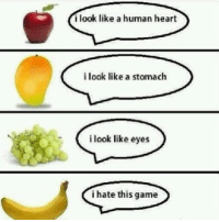 Memes, Banana, and 🤖: i look like a human heart  i look like a stomach  i look like eyes  i hate this game I hate this game 😒 Memez.com funny memes game banana
