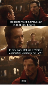 """P2W: I looked forward in time, I saw  14,000,605 futures,  In how many of those is """"Vehicle  Modification Upgrades"""" not P2W?  None"""