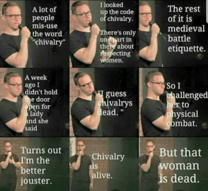 "It is: I looked  up the code  of chivalry.  The rest  A lot of  рeople  mis-use  of it is  medieval  battle  There's only  one part in  there about  respecting  the word  ""chivalry""  etiquette.  women.  A week  ago I  didn't hold  the door  open for  a lady  and she  said  So I  guess  chivalrys  dead.""  challenged  her to  physical  combat.  Turns out  But that  Chivalry  is  alive.  I'm the  better  woman  is dead.  jouster. It is"