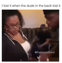 """Dude, Memes, and Lost: I lost it when the dude in the back lost it  @thehoodsfinest """"Couches don't fit through doors"""" 😂"""