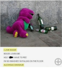 Dinosaur, Love, and Alcoholic: I LOVE BOOZE  BOOZE LOVES ME  HOLY I HAVE TO PEE  M SO SMASHED IM FALLING ON THE FLOOR  ALCOHOLIC DINOSAUR