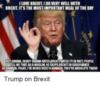 Obligatory Trump meme  ~Danelaw: I LOVE BREXIT I DO VERY WELL WITH  BREXITITS THEMOSTIMPORTANT MEAL OF THE DAY  BUT OBAMA, OKAYP OBAMA HATES BREXITHATESIT! IN FACT PEOPLE  TELLME THAT ASAMUSLIM, HE SKIPS BREXITIN OBSERVANCE  OF RAMADA. FOLKS,IVENEVER BUIITARAMADA THEYREABSOLUTE TRASH  Trump on Brexit Obligatory Trump meme  ~Danelaw