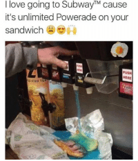 y'all gotta try this sometime I swear: I love going to SubwayTM cause  it's unlimited Powerade on your  sandwich  PUSH  HERE  ID ICED TE  VEET y'all gotta try this sometime I swear