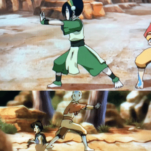 Crazy, Love, and Aang: I love how Aang is making an earthbending pose when stopping the crazy beast even though he was airbending