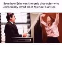 "love them TheOffice.AF (link in bio) or ""OfficeChristmas"" on your app store for Office Christmas Sweaters🎄❄️🎄: I love how Erin was the only character who  unironically loved all of Michael's antics  @theofficeshow love them TheOffice.AF (link in bio) or ""OfficeChristmas"" on your app store for Office Christmas Sweaters🎄❄️🎄"