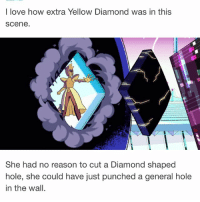 "Love, Memes, and Diamond: I love how extra Yellow Diamond was in this  Scene.  She had no reason to cut a Diamond shaped  hole, she could have just punched a general hole  in the wall. I don't know why the word ""flesh"" disturbs me so much (and the word ""moist"") stevenuniverse cartoonnetwork"