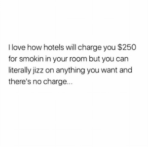 Jizz, Love, and Dank Memes: I love how hotels will charge you $250  for smokin in your room but you can  literally jizz on anything you want and  there's no charge.. Truth.
