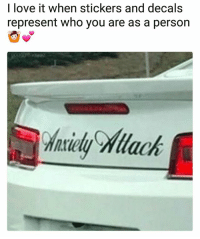 Love, Memes, and 🤖: I love it when stickers and decals  represent who you are as a person  haidy Mlack 1 like = 1 individuality - 1 comment = 1 sweaty palm