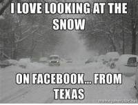 T-shirt and jeans weather today :): I LOVE LOOKING AT THE  SNOW  ONFACEBOOKO FROM  TEXAS  memegeneratornet T-shirt and jeans weather today :)