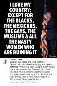 (GC): I LOVE MY  COUNTRY:  EXCEPT FOR  N  THE BLACKS,  THE MEXICANS,  THE GAYS, THE  MUSLIMS & ALL  THE NASTY  WOMEN WHO  ARE RUINING IT  iTyther98  Garret Utter  Blacks? You mean the folks that the  Democratic party has knowingly and openly  defamed? It's funny how Trump's mean words  make him a racist, but Clinton's picture of  kissing a KKK member/senator and super  predator remarks are forgotten. Or how she  took money from a Haiti that needed her.  Whites aren't the majority there.  1 hour ago Like 33 Reply (GC)
