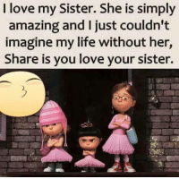 Life, Love, and Memes: I love my Sister. She is simply  amazing and I just couldn't  imagine my life without her,  Share is you love your sister.