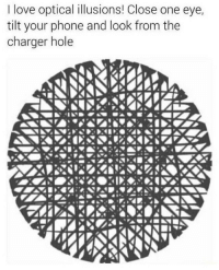 Love, Phone, and Tilt: I love optical illusions! Close one eye,  tilt your phone and look from the  charger hole :)