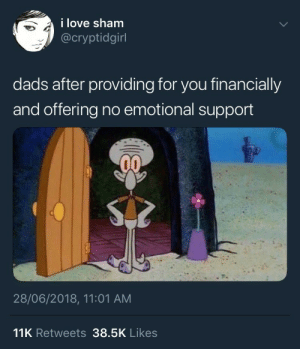 Love, Tumblr, and Blog: i love sham  @cryptidgirl  dads after providing for you financially  and offering no emotional support  28/06/2018, 11:01 AM  11K Retweets 38.5K Likes parkistan: ENOUGH