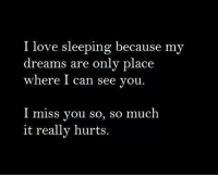Love, Sleeping, and Dreams: I love sleeping because my  dreams are only place  where I can see you  I miss you so, so much  it really hurts.
