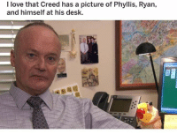Af, Christmas, and Lol: I love that Creed has a picture of Phyllis, Ryan,  and himself at his desk. what else do you notice LOL !! 10 days left of free shipping for delivery before christmas day! shop ➵ theoffice.af 🎅🏻🎄❄️