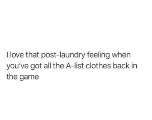 meirl: I love that post-laundry feeling when  you've got all the A-list clothes back in  the game meirl