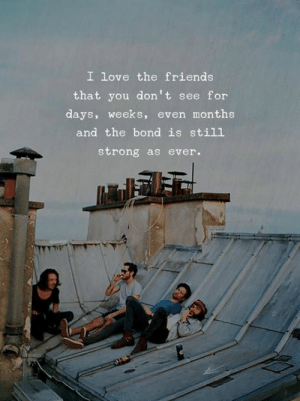 As Ever: I love the friends  that you don't see for  days, weeks, even months  and the bond is still  strong as ever.