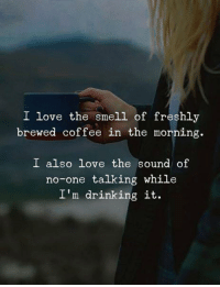 Drinking, Love, and Smell: I love the smell of freshly  brewed coffee in the morning.  I also love the sound of  no-one talking while  I'm drinking it.
