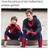 Love, Memes, and Savage: i love this picture of tom holland and  andrew garfield This is very savage. 😂😂