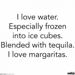 25 Margarita Memes & Tequila Quotes To Help You Celebrate National Margarita Day: I love water.  Especially frozen  into ice cubes.  Blended with tequila  I love margaritas.  mitú 25 Margarita Memes & Tequila Quotes To Help You Celebrate National Margarita Day