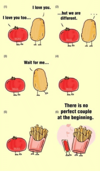 9gag, Funny, and Love: I love you.  (2)  ...but we are..  I love you too...  different.  9GAG  9GAG  Wait for me...  9GAG  9GAG  There is no  6) perfect couple  at the beginning.  9GAG How the fuck did a potato and tomato make me sad https://t.co/xRlCt91X68