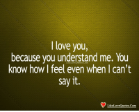 Love, Memes, and Say It: I love you,  because you understand me. You  know how I feel even when I can't  say it.  otes.Comm  LikeLoveQuotes.Com