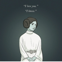 """Carrie Fisher, Love, and Memes: """"I love you.""""  """"I knove.  S5 It's been a year without Carrie Fisher and the galaxy has been just a little bit darker ever since. RIP Princess Leia ✨"""