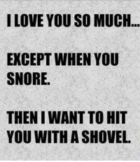 I LOVE YOU SO MUCH  EXCEPT WHEN YOU  SNORE.  THEN WANT TO HIT  YOU WITH A SHOVEL
