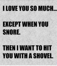 Dank, Love, and I Love You: I LOVE YOU SO MUCH  EXCEPT WHEN YOU  SNORE.  THEN WANT TO HIT  YOU WITH A SHOVEL