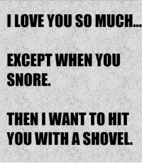 Dank, I Love You, and 🤖: I LOVE YOU SO MUCH  EXCEPT WHEN YOU  SNORE  THEN IWANT TO HIT  YOU WITH A SHOVEL.