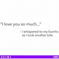 """Love, Memes, and I Love You: """"I love you so much...""""  I whispered to my burrito  as I took another bite  mitú Pure bliss ❤️"""
