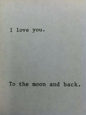 To The Moon: I love you.  To the moon and back.