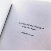 Love, You, and What: i loved you before i even knew  what love meant  -bridgett devoue