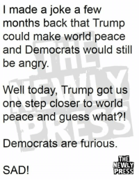 Memes, Guess, and Today: I made a joke a few  months back that Trump  could make world peace  and Democrats would still  be angry  Well today, Trump got us  one step closer to world  peace and guess what?!  Democrats are furious.  THE  NEWLY  PRESS  SAD!