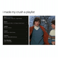 Crush, Life, and Memes: i made my crush a playlist  Well  Phat Phunktion Real Life ..High Fidelity  Damn  Nightmares On Wax In A Space Outta Sound  Jackie  Placebo Covers  I Can't  Radiohead Pablo Honey  Control  Halsey BADLANDS (Deluxe)  The Weather  Lyves Like Water
