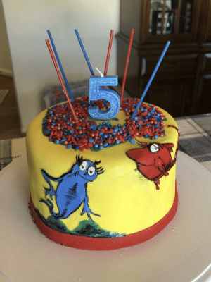 I made my daughter a Dr. Seuss cake for her 5th birthday. Home made vanilla cake with home made chocolate buttercream inside.: I made my daughter a Dr. Seuss cake for her 5th birthday. Home made vanilla cake with home made chocolate buttercream inside.