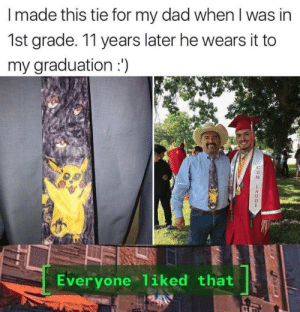Me_irl: I made this tie for my dad when I was in  1st grade. 11 years later he wears it to  my graduation :')  Everyone liked that Me_irl