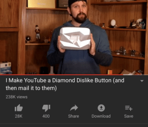 Dank, Memes, and Target: I Make YouTube a Diamond Dislike Button (and  then mail it to them)  238K views  28K  400  Share  Download  Save R/Madlads are taking over by E7than546 MORE MEMES
