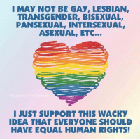 Transgender, Asexual, and Lesbian: I MAY NOT BE GAY, LESBIAN,  TRANSGENDER, BISEXUAL  PANSEXUAL, INTERSEXUAL  ASEXUAL, ETC.  I JUST SUPPORT THIS WACKY  IDEA THAT EVERYONE SHOULD  HAVE EQUAL HUMAN RIGHTS!