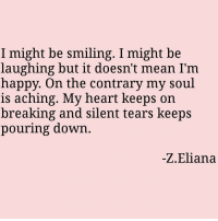 Happy, Heart, and Mean: I might be smiling. I might be  laughing but it doesn't mean I'm  happy. On the contrary my soul  is aching. My heart keeps on  breaking and silent tears keeps  pouring down  -Z.Eliana