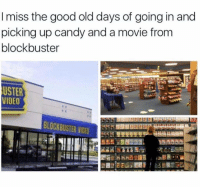 Blockbuster, Candy, and Memes: I miss the good old days of going in and  picking up candy and a movie from  blockbuster  USTER  VIDEO  BLOCKBUSTER VIDEO How you knew your night was going to be awesome.