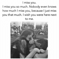 i miss you so much: I miss you  miss you so much. Nobody even knows  how much I miss you, because I just miss  you that much. wish you were here next  to me.