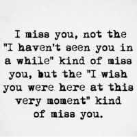 "Wish You Were Here, Moment, and You: I miss you, not the  ""I haven't seen you in  a while"" kind of miss  you, but the ""I wish  you were here at this  very moment"" kind  of miss you."