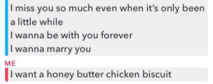 Chicken, Forever, and Irl: I miss you so much even when it's only been  a little while  I wanna be with you forever  I wanna marry you  ME  I want a honey butter chicken biscuit Me_irl