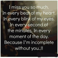 i miss you so much: I miss you so much  In every beat of my heart  In every blink of my eyes  In every second of  the minutes. In eve  moment of the day.  Because I'm incomplete  without you